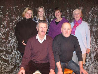 The cast of Skibbereen Theatre Society's production of the darkly-comic Family Plot, which opens at Skibbereen Town Hall on Wednesday next, February 25th – back, from left – Angela Galvin Isobelle Nealon, Carmel O'Driscoll and Catherine Field. Front: Fachtna O'Driscoll and Ger Minihane.