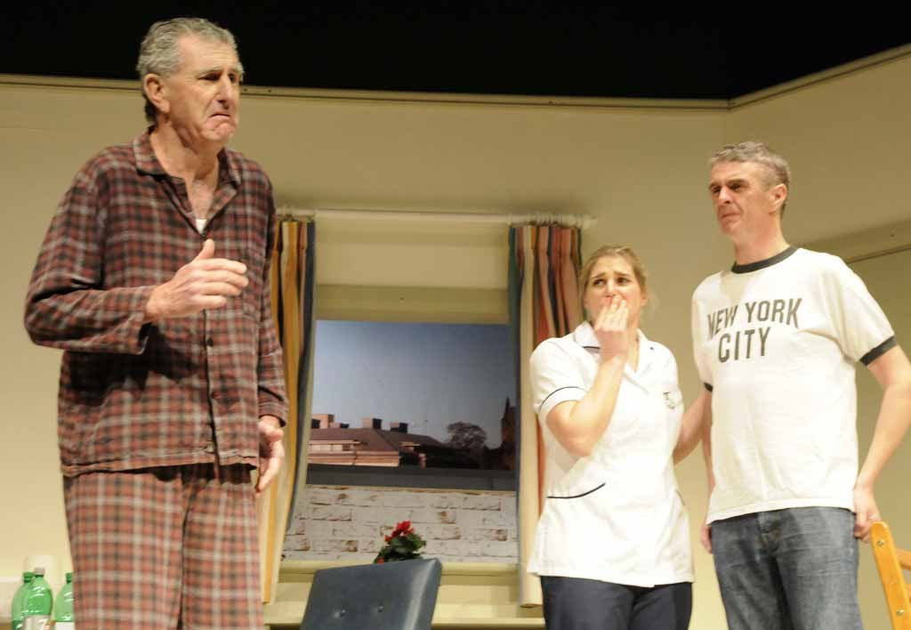 Three of the cast of Skibbereen Theatre Society's award-winning production of 'The Quiet Moment' by Mike Finn which returns to Skibbereen Town Hall for three performances in early  August – from left – Fachtna O'Driscoll, Mary O'Driscoll and Declan McCarthy. (Photo: Patricia Coogan-O'Dell)
