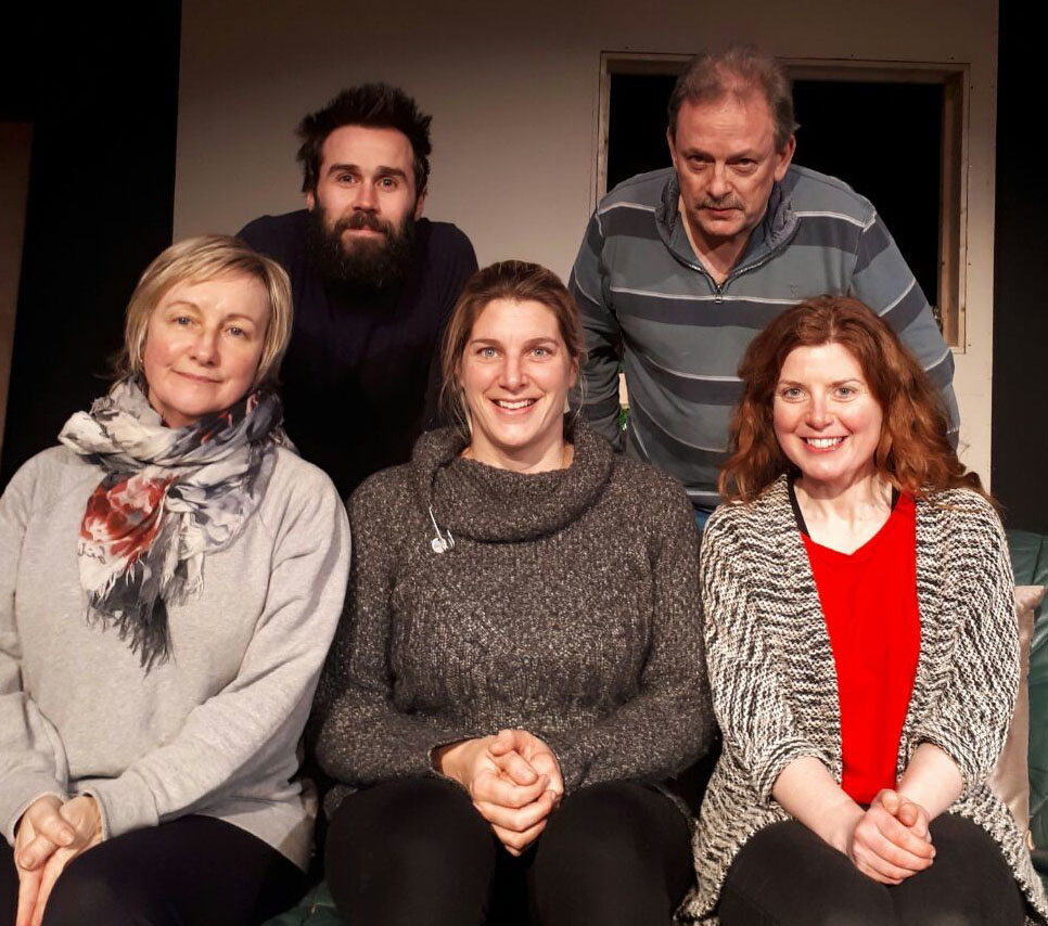 The cast of Skibbereen Theatre Society's production of 'Abigail's Party' - seated from left - Angela Galvin, Mary O'Driscoll and Bernie Whooley. Back: Paul Delaney and Greg Watkin.